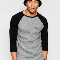 ASOS Rib Muscle 3/4 Sleeve T-Shirt With Zip Pocket at asos.com