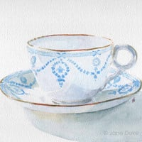 Tea Cup and Saucer watercolour blue and white by janedukeartist