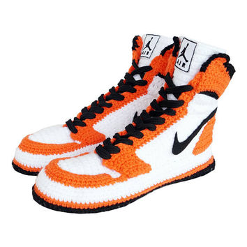 Nike Air Jordan 1 Retro High Orange Crochet Style Slippers, Nike Air Jordan 1 Retro High OG Men!s And Women's Basketball Shoes, NAJROS