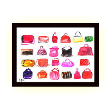 Girl Bags, chanel clutch, print, watercolor painting, fashion, wall art, home, hand bag, decals, room decor, louis vuitton, purse, poster