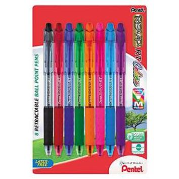 Pentel® R.S.V.P. RT Ballpoint Retractable Pen, Assorted Ink, 8/Pk