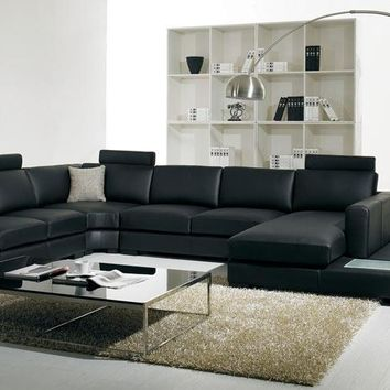 Divani Casa T35 - Modern Eco-Leather Sectional Sofa With Light