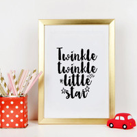 Twinkle Twinkle Little Star Nursery Girls Decor Nursery Print Gift For Her Baby Girl Nursery Decor Print Girl Nursery Kids Room Art