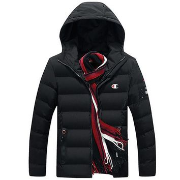Champion winter men's new trend trend hooded jacket thick down cotton clothing Black