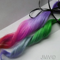 4x Tropical Bombshell 100% human hair Clip In Ombre extensions Dip Dye Kawaii Lavender Lilac Pink Red Green Blue
