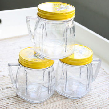 Three 8oz Vintage Osterizer Mini-Blend Containers With Lids / Blender Jars / Oster Blender Accessories / Store Jars / Plastic Jars