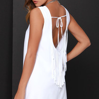 BB Dakota Elsa White Fringe Dress