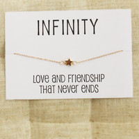 Love and Friendship Infinity charm bangle gift card wrapped fashion woman star bracelet