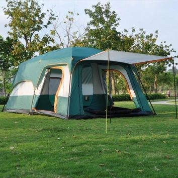 Large Tent Family Waterproof Double Layer 8 10 12 Person Cabin Tent Two  Rooms