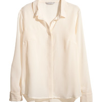 H&M - Silk Blouse - Natural white - Ladies
