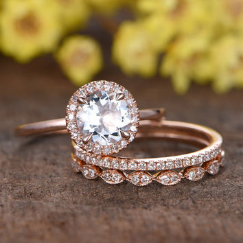 1.2 Carat Round Aquamarine Wedding Ring Set Diamond Matching Band 14k Rose Gold Half Eternity Art Deco Bridal