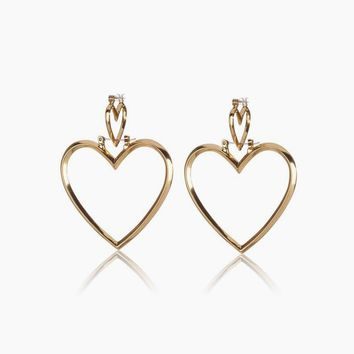 Heartbreaker Dangle Hoop Earrings (Set of 4) - Gold