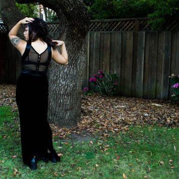 Elegant black stretch velvet backless and sheer cut out sides silk trimmed button up gown dress gothic grunge 90's vintage size S Rhapsody