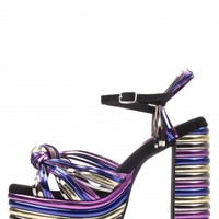 Jeffrey Campbell Shoes ANDREA-HI Platforms in Pewter Purple Blue Gold Metallic