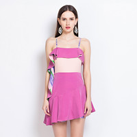 Pink Flounce Color Block Asymmetric Spaghetti Strap Mini Dress