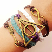 infinity bracelet Harry potter Deathly Hallows Rope Bracelet women ropes bracelet 1507A