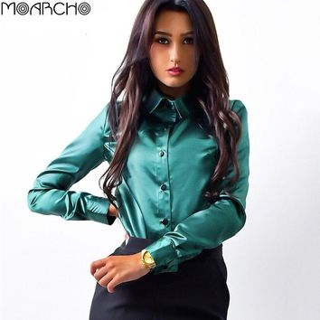 MOARCHO Women Fashion Silk Satin Blouse 2017 Autumn Long Sleeve Shirts Ladies Office Work Elegant Female Top High Quality Tops