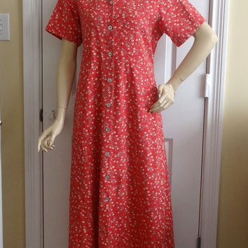 1994 Vintage Susan Bristol Country Red Calico Dress in Cotton,Size Large, Button Front, Slit Side Pockets, Vintage Clothing, Vintage Bristol