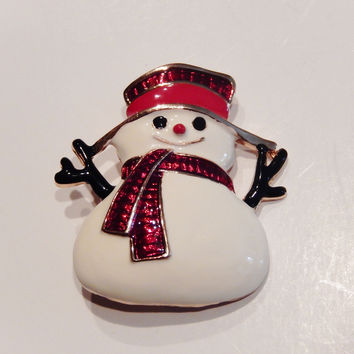 18k Gold Plated Snowman Pin Brooch