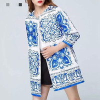 White And Blue Porcelain Print Sleeve Coat