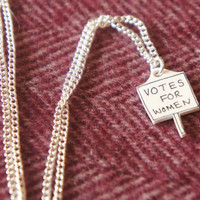 Votes for Women, small handmade suffragette necklace. Adorable feminist necklace, with suffragette pendent. Feminist jewellery, pro women.