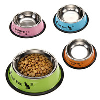 Dog Cat Food Water Bowl Fashion Stainless Steel Anti-skid Pet Feeding Tool FULI