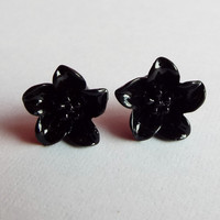 Black Lily Flower Earrings Post Studs