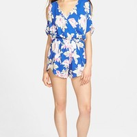 Women's ASTR Cold Shoulder Surplice Romper,