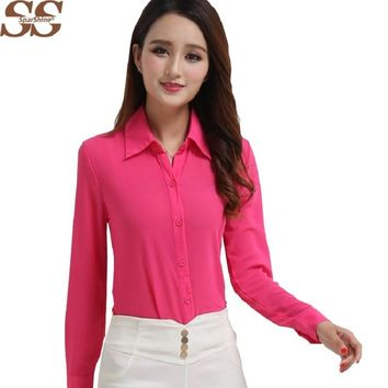 2016 Summer New Long-sleeved Chiffon Shirt Lapel Floral Women Shirts Blouses Ladies Blusas Fashion Women Tops Solid Arrival