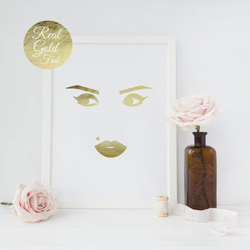 Real Gold Foil Marilyn Monroe Poster, Makeup Print, Marilyn Monroe Print, Wall Decor, Inspirational Print, Minimalist Poster, Fashion Poster