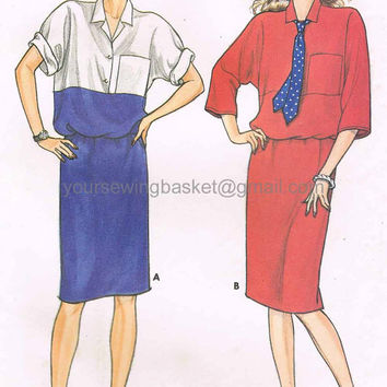 Easy Vintage Dress Pattern, Dolman Sleeves, Nautical Dress Pattern, Butterick 3207 Unused and Uncut, 1980