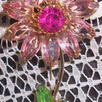 Gorgeous Mid-Century Signed Weiss Pink & Raspberry Rhinestone Flower Brooch - Large Pin Statement Piece Vintage Jewelry