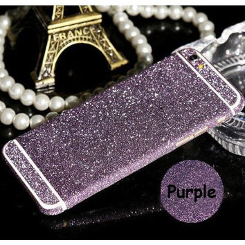 "Bling Glitter Shiny Full Body Sticker Wrap Decal Case Cover For iPhone 4 4S 5 5SE 5S 6/6S 4.7"" 6S Plus 5.5"""
