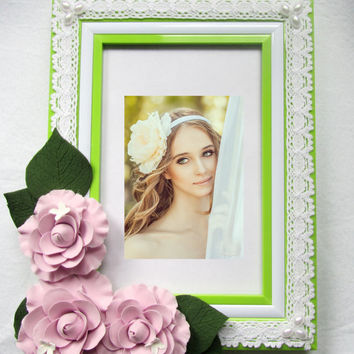Photo frame with camellias.  Shabby Chic. Eco. Home Decor for Children Baby Kid. Girl. Beloved. ready to ship