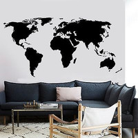 Wall Decal World Map Atlas Vinyl Sticker For Living Room (z2836)