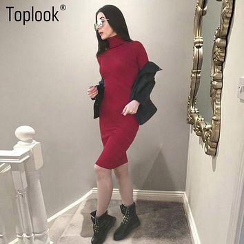 Toplook Turtleneck Elegant Knitted Dress Office Long Sleeve Bodycon Dress Women 2017 Robe Sexy Black Dress Midi Evening Vestidos