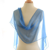 Cerulean blue naturally dyed chiffon silk scarf, hand dyed with natural indigo