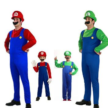 Hot Sale Halloween Adult Kids Funny Cosplay Costumes Super Mario Luigi Brothers Plumber Mens Party Costume For Unisex Children