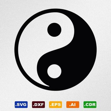 Yin Yang Symbol Svg, Dxf, Eps, Ai, Cdr Vector Files for Silhouette, Cricut, Cutting Plotter