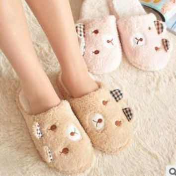 ideacherry fashion cute bear winter warm antiskid slippers soft plush indoor couple ho  number 1