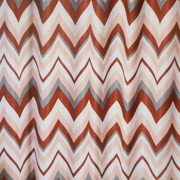 Chevron Ombre Llamarada Jacquard Fabric Shower Curtain