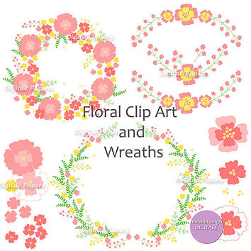 Fresh Spring Colours,Instant Downloadable Digital Clip Art,Spring,Flowers,Wedding,Pastel Colours,Printable,Floral,Pink,Green,Yellow,Twigs,