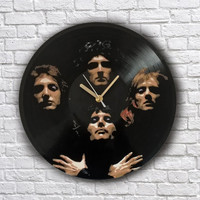Queen painted retro vinyl clock. Freddie Mercury