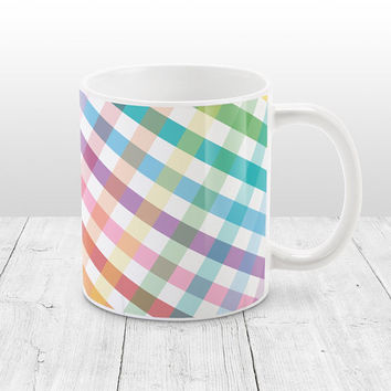 Rainbow Gingham Mug - Diagonal White Colorful Gingham Pattern, Country Kitchen Mug, Rainbow Mug - 11oz or 15oz - Made to Order