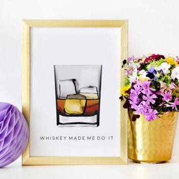 Whiskey Art,Make Mine a Double,Alcohol Gift,Whiskey Cocktail,Inspiring Wall Art,Party Decor,Champagne Sign,Alcohol Poster,Funny Poster