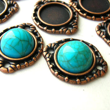 10mm Stone Setting - Antique Copper Tone - 10 mm Cabochon Frame - Connectors - 2 Loops