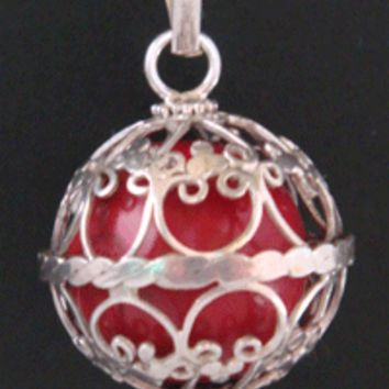 925 Sterling Silver Harmony Ball, Moonstone Gem & Red Chime Ball