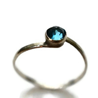 London Blue Topaz Ring, Handforged Sterling Silver Ring, Blue Topaz Engagement Ring