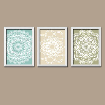 Coral Navy Turquoise Wall Art Canvas Artwork Flower Radial Sun Burst Doilies Lace Tribal Set of 3 Trio Prints Decor Bathroom Bedroom Three