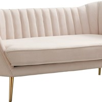 Margo Cream Velvet Loveseat